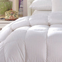 300TC 100% Cotton Striped White Duck Down Comforter-550 Fill Power All Season