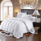 300TC 100% Cotton White Striped Goose Down Comforter-600 Fill Power All Season Duvet Insert