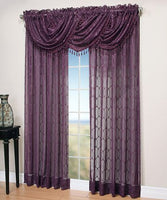 Symetry Sheer Beaded Rod Pocket Curtain Panel and Waterfall Valance