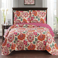 Vivacious Tamiya Floral Pattern lightweight Oversized Quilted Coverlet Set; Includes Quilt & Coordinating Shams