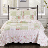 (Split King)-Elegant Upland Floral Quilt/Coverlet Bed in a Bag; Exquisite Bed Ensemble Includes Printed Oversize Quilt/Coverlet Coordinating Shams, White Flat Sheet, White Fitted Sheets, and White Pillowcases