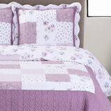 Flirty Lilac Ventura Floral Print Easy Care Hypoallergenic Microfiber Quilt Set; Includes Quilt & Coordinating Shams