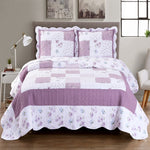 Elegant and Contemporary Ventura Lilac Quilt/Coverlet Bed in a Bag; Includes Quilt, Coordinating Shams, White Flat Sheet, White Fitted Sheet, and White Pillowcases