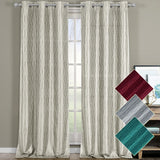 Stylish Voyage Jacquard Thermal Blackout Grommets Curtain Panels (Set of 2)