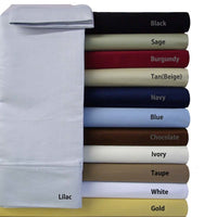 Hypoallergenic 100% Microfiber Solid Bed Sheet Set; Includes Flat Sheet, Fitted Sheet, & Coordinating Pillowcases