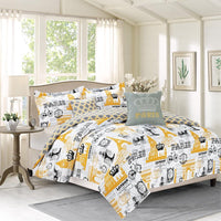 Elegant & Contemporary Bon Voyage Comforter Set, Paris Eiffel Tower London; Includes Comforter, Coordinating Shams, & Decorative Pillows