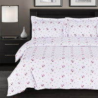 (Split King)-Zahra 300 Thread Count 100% Cotton Floral Bed in a Bag; Includes Duvet Cover, Coordinating Shams, Matching Flat Sheet, Matching Fitted Sheet, Matching Pillowcases, & Down Alternative Comforter