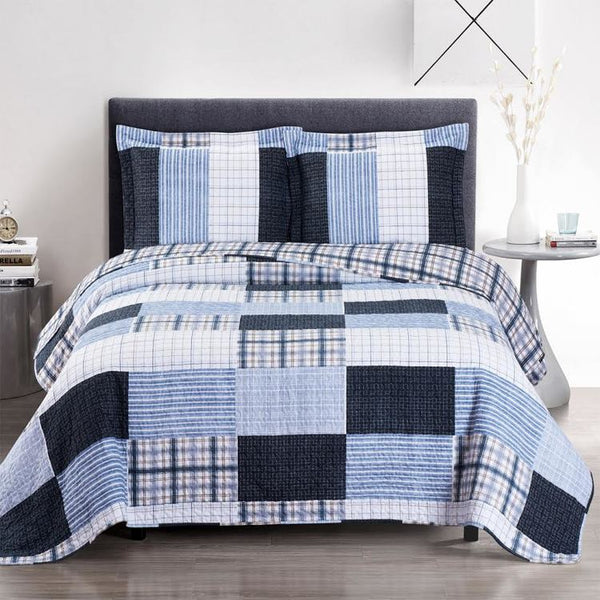 (Split King)-Elegant and Contemporary Zoe Blue Quilt/Coverlet Bed in a Bag; Exquisite Bed Ensemble Includes Printed Oversize Quilt/Coverlet Coordinating Shams, White Flat Sheet, White Fitted Sheets, and White Pillowcases