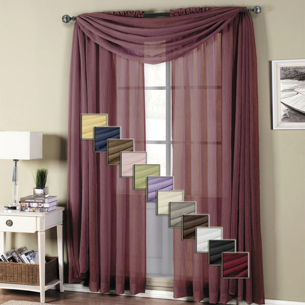 Abri Rod Pocket Crushed Sheer Window Curtain Panels or Scarf, Beautiful Decor (Single)