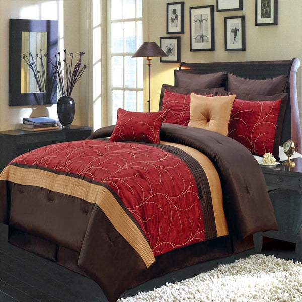 Vibrant Atlantis Nature Inspired 6-8Pc Red Polyester Embroidered Comforter Set; Includes Comforter, Coordinating Shams, Decorative Pillows, & Decorative Bed Skirt