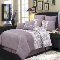 Purple Bliss Floral Polyester 6-8-Piece Complete Wrinkle-Free Comforter Sets; Includes Comforter, Coordinating Shams, & Decorative Pillows