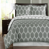 Brooksfield 250 Thread Count 100% Cotton (Gray or Taupe) Floral Duvet Cover Set; Includes Duvet Cover and Coordinating Shams