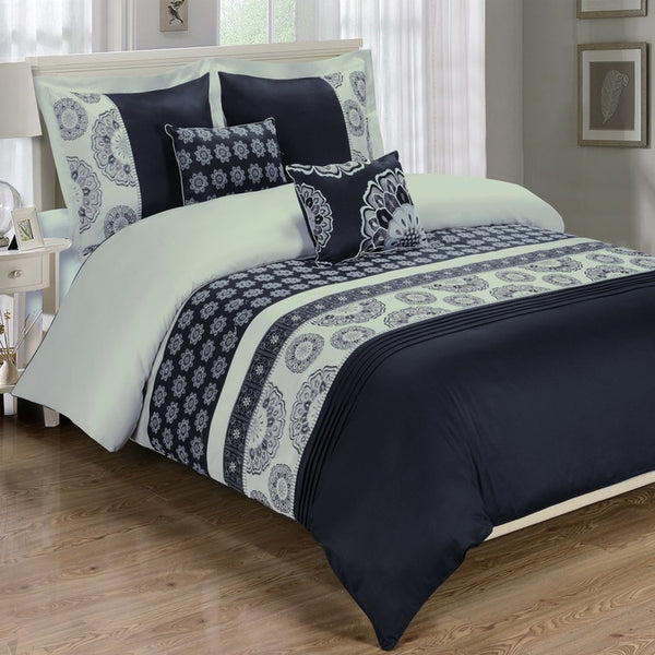 5pc Chelsea 210 Thread Count 100% Cotton Black Embroidered Duvet Cover Set; Includes Duvet Cover, Coordinating Shams, and Decorative Pillows