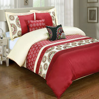 5pc Chelsea 210 Thread Count 100% Cotton Red Floral Duvet Cover Set; Includes Duvet Cover, Coordinating Shams, and Decorative Pillows