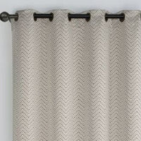 "Chevron Embroidered Curtains 55""Wx90""L Grommet Top Jacquard Panels (Set of 2)"