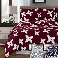 Desiree 250 Thread Count 100% Combed Cotton (Burgundy, Gray, or Navy Floral Duvet Cover Set; Includes Duvet Cover and Coordinating Shams
