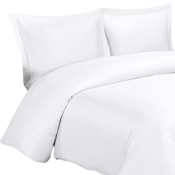 Wrinkle Resistant 300 Thread Count 100% Cotton Solid Duvet Cover Set; Includes Duvet Cover and Coordinating Shams