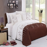 3pc Ellis 100% Microfiber Brown and White Embroidered Duvet Cover Set; Includes Duvet Cover and Coordinating Shams