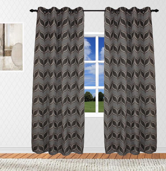Modern Leaf Woven Jacquard Faux Linen Top Grommet Panel (Available in 2 different colors)