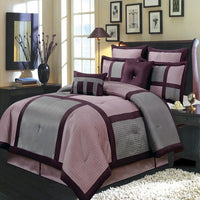 Relaxing Purple & Gray Nature-Inspired Polyester 8-Piece Morgan Comforter Set; Includes Comforter, Coordinating Shams, Decorative Pillows, & Decorative Bed Skirt