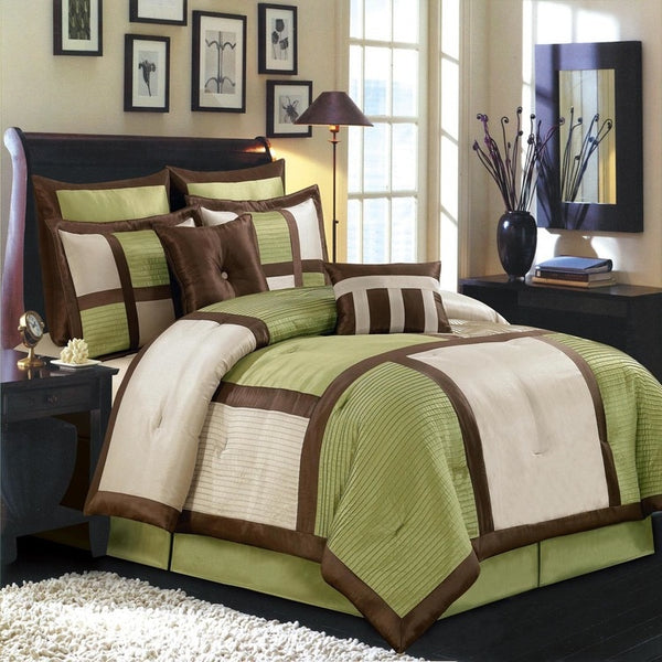Serene Sage, Beige, & Brown Polyester 8-Piece Morgan Comforter Set; Includes Comforter, Coordinating Shams, Decorative Pillows, & Decorative Bed Skirt