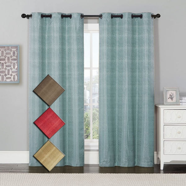"Murry Thermal Blackout Curtain Panels Jacquard Textured 76""Wx84""L(Set Of 2)"