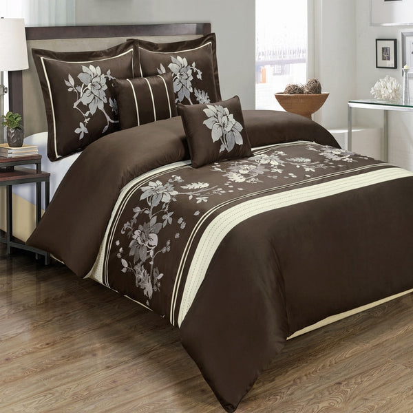 5pc Myra 210 Thread Count 100% Chocolate Floral Embroidered Duvet Cover Set; Includes Duvet Cover, Coordinating Shams, and Decorative Pillows