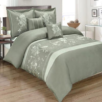 6pc Myra Cotton Bed Ensemble; Bed in a Bag Set includes Floral Embroidered Duvet Cover, Coordinating Shams, Decorative Pillows, & White GOOSE DOWN COMFORTER