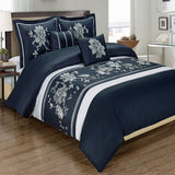 5pc Myra 210 Thread Count 100% Cotton Navy Floral Embroidered Duvet Cover Set; Includes Duvet Cover, Coordinating Shams, and Decorative Pillows