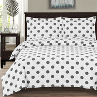 250 Thread Count 100% Cotton Percale Polka Dot Duvet Cover Set; Includes Duvet Cover & Coordinating Shams