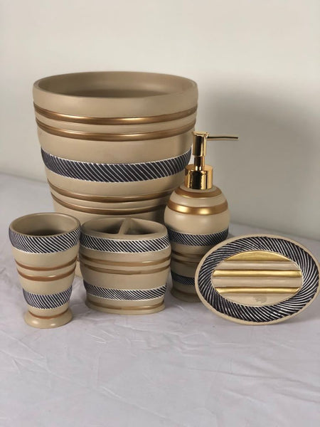 5p Roma Beige Ceramic Bath Accessory Set; Coordinating Roma Beige Shower Curtain