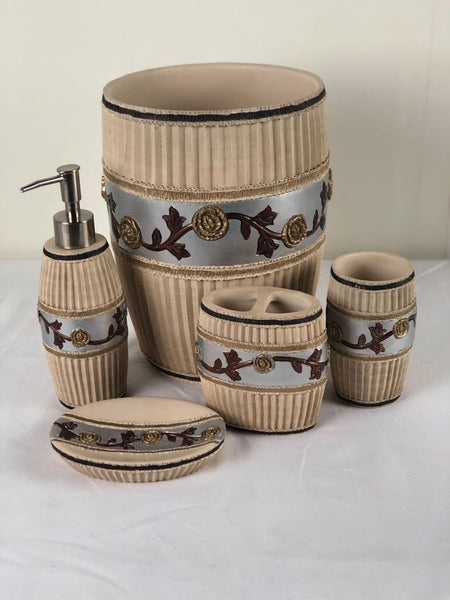 5pc Jackie Beige Ceramic Bath Accessories Set; Coordinating Jackie Curtain and Hook Set