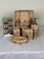 5pc Elegant Taj Gold Bath Accessories Set; Available Coordinating Curtain Hook Set