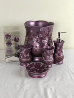 5pc Violet Ceramic Bath Accessories Set; Coordinating Violet Curtain Hook Set