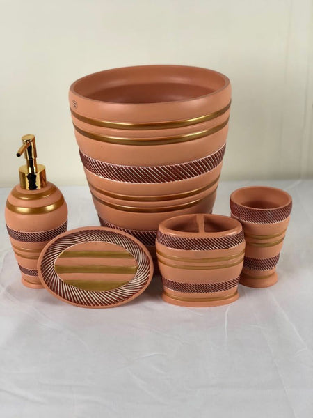 5pc Roma Rust Ceramic Bath Accessories Set; Coordinating Roma Rust Curtain and Hook Set