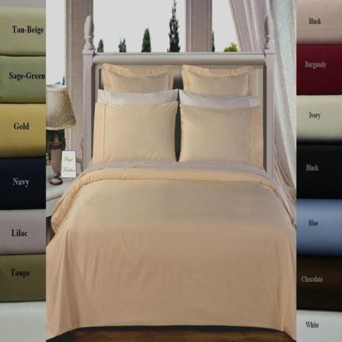 (Split King)-300 Thread Count 100% Cotton Solid Bed in a Bag Set; Includes Duvet Cover, Coordinating Shams, White Flat Sheet, White Fitted Sheets, White Pillowcases, & Down Alternative Comforter