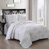 Elegant and Contemporary Simmon Quilt/Coverlet Bed in a Bag; Includes Quilt, Coordinating Shams, White Flat Sheet, White Fitted Sheet, and White Pillowcases
