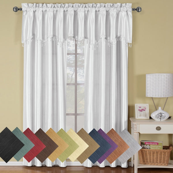 Soho Faux Silk Rod Pocket Straight Window Treatment, Curtain Panel or Valance