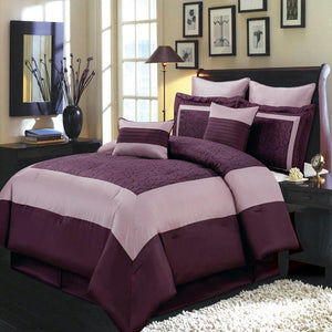 Chic Purple Swirled 8 Piece Wendy 100% Polyester Comforter Set; Includes  Comforter,