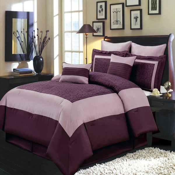 Chic Purple Swirled 8-Piece Wendy 100% Polyester Comforter Set; Includes Comforter, Coordinating Shams, Decorative Pillows, & Decorative Bed Skirt-Available Coordinating Curtain Panels