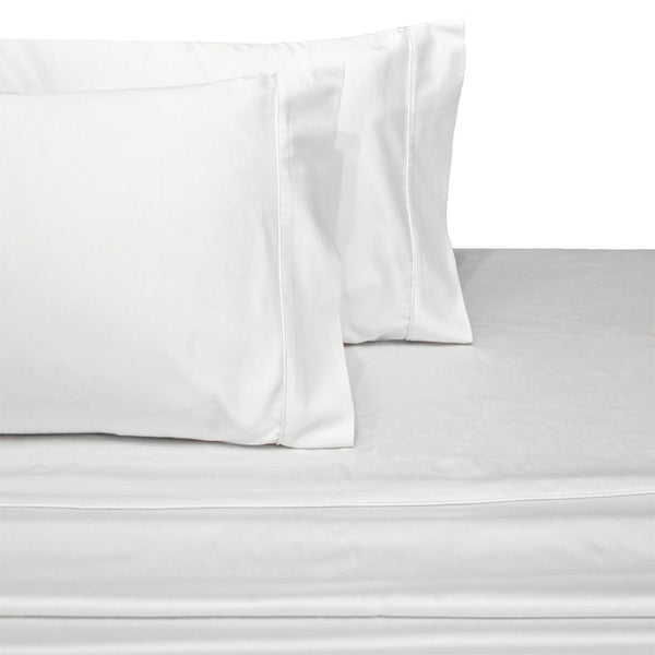 Waterbed 100% Cotton 300 Thread Count Solid Attached Sheet Set; Includes Flat Sheet, Fitted Sheet, & Coordinating Pillowcases