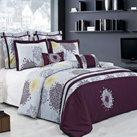7pc Fifi 210 Thread Count 100% Cotton Plum, Lavender, & Yellow Embroidered Duvet Cover Set; Includes Duvet Cover, Coordinating Shams, and Decorative Pillows