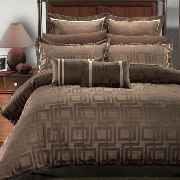 7pc Janet 50% Cotton-50% Polyester Charcoal Brown and Beige Geometric Duvet Cover Set; Includes Duvet Cover, Coordinating Shams, and Decorative Pillows