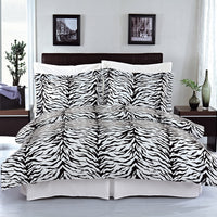 Zebra 210 Thread Count 100% Cotton Black and White Animal Print Duvet Cover Set; Includes Duvet Cover and Coordinating Shams