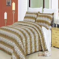 Cheetah 210 Thread Count 100% Combed Cotton Animal Print Duvet Cover Set; Includes Duvet Cover and Coordinating Shams