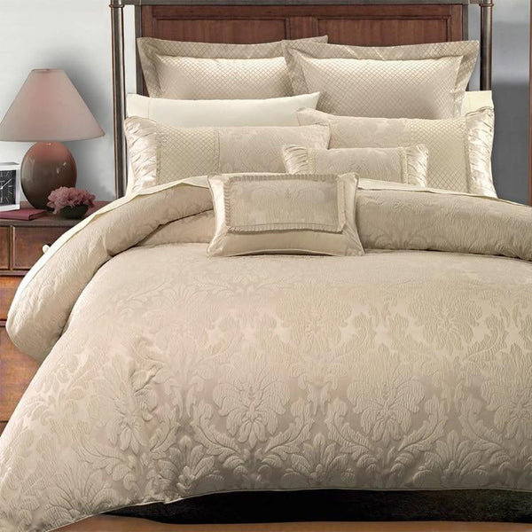 8pc Sara Cotton Blend Bed Ensemble;Bed in a Bag Set includes 7pc Beige Floral Duvet Cover, Coordinating Shams, Decorative Pillows, & White GOOSE DOWN COMFORTER