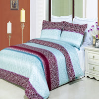 Kimberly 210 Thread Count 100% Combed Cotton Aqua and Mauve Floral Duvet Cover Set; Includes Duvet Cover and Coordinating Shams
