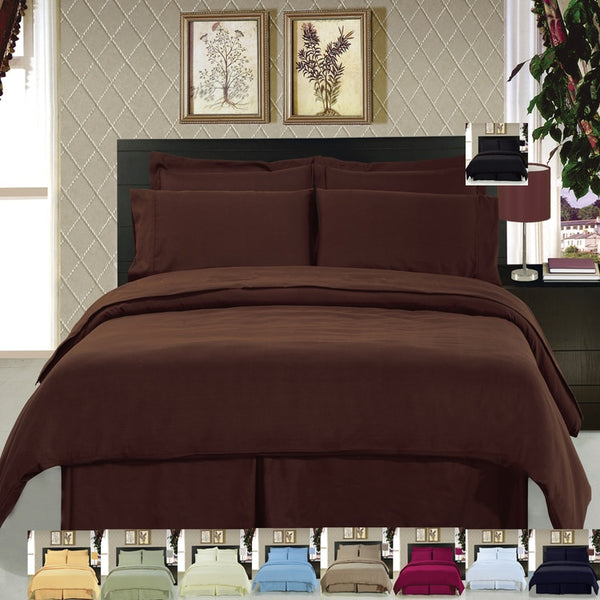 8pc 100% Microfiber Solid Bed in a Bag Bedding Set; Includes Duvet Cover, Coordinating Shams, Matching Flat Sheet, Matching Fitted Sheet, Matching Pillowcases, & Down Alternative Comforter