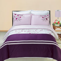 Cherry 210 Thread Count 100% Combed Cotton Purple and Lilac Embroidered Duvet Cover Set; Includes Duvet Cover and Coordinating Shams