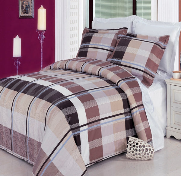 Arlington 210 Thread Count 100% Combed Cotton Brown, Beige, Black, White, and Lavender Plaid Duvet Cover Set; Includes Duvet Cover and Coordinating Shams